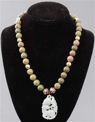 Chinese Jadeite Jade Pendant & Unikite Necklace