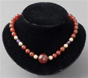 Carnelian, Amethyst, & Gold-Tone Bead Necklace
