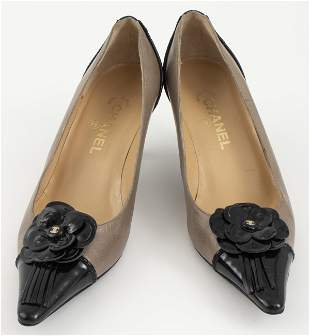 Chanel Black And Taupe Leather Shoes, Sz. 40