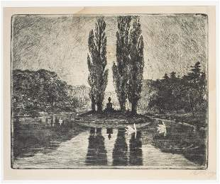"""Illegibly Signed """"Swans in Pond"""" Etching"""