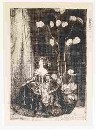 """""""Woman with Plant"""" Etching on Paper"""