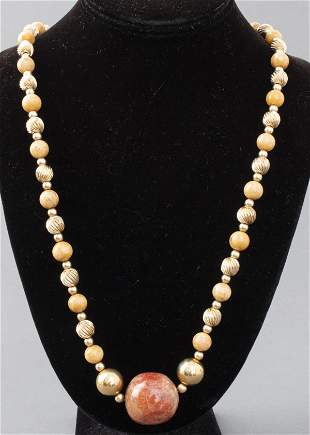 Hardstone, Coral, & Gold-Tone Beaded Necklace