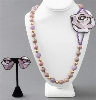 Rose Motif Hardstone & MOP Jewelry Set, 2