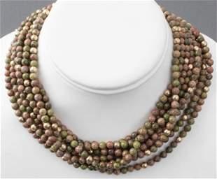 Epiodite & Gold-Tone Bead Strand Necklace