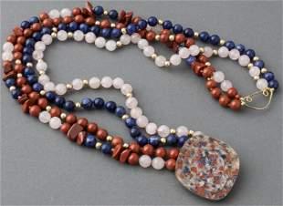 Red Jasper, Quartz, Lapis Lazuli Beaded Necklace