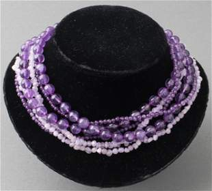 Amethyst Beaded Necklaces, Group of 3