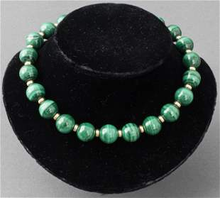 Malachite & Gold-Fill Beaded Necklace