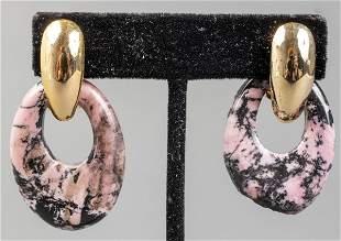 Vintage 14K Gold Filled Rhodonite Drop Earrings
