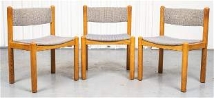 Mid-Century Modern Upholstered Pine Side Chairs, 3