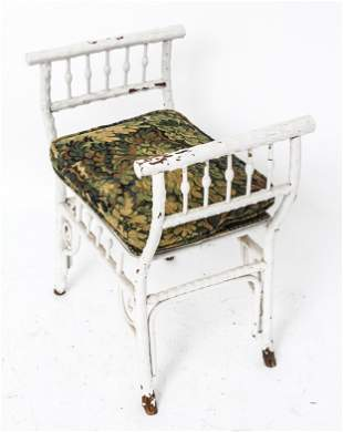 Victorian White Painted Bench w Upholstered Seat