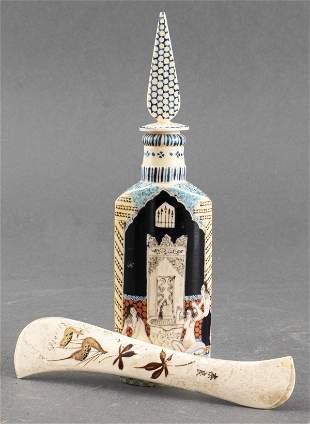 VTG Painted Bone Perfume Bottle & Letter Opener, 2