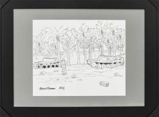Mateo Romero A.P. Lithograph, Army Tanks In Jungle