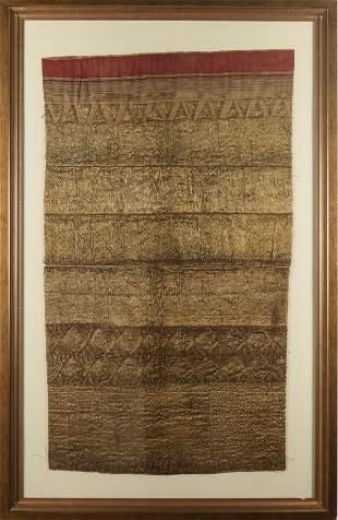 Ethnographic Metallic Thread Textile Panel, Framed