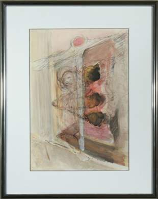 """Contemporary """"Sleeping Figure"""" Signed Watercolor"""