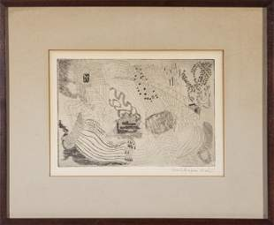 Pearl Shapiro Abstract Etching on Paper, 1965