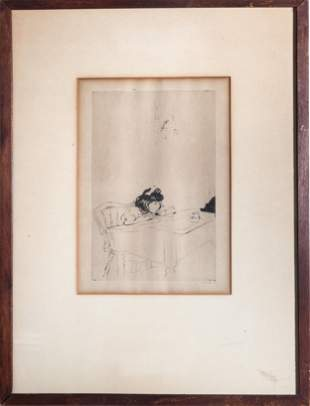 Signed Illegibly Young Girl at School Desk Etching