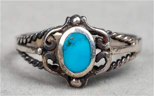 Vintage South West Indian Silver Turquoise Ring
