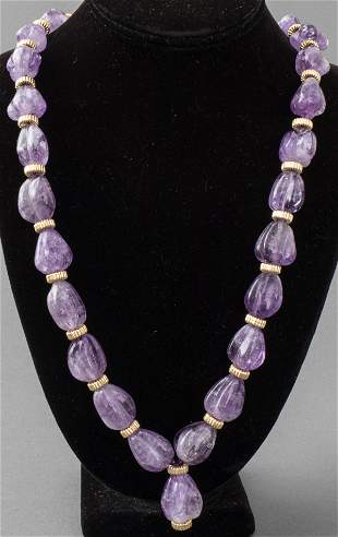 Long Carved Amethyst & Gold-Fill Necklace