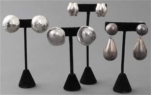 Mid-Century Modern Silver Earrings, 4 Pairs