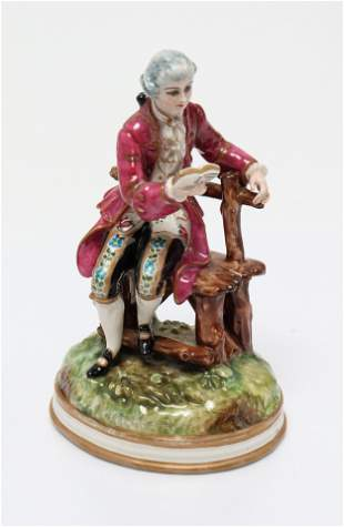 Continental Porcelain Figure of a Gent Reading
