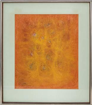 """Signed Sargent """"Orange Abstract"""" Mixed Media"""