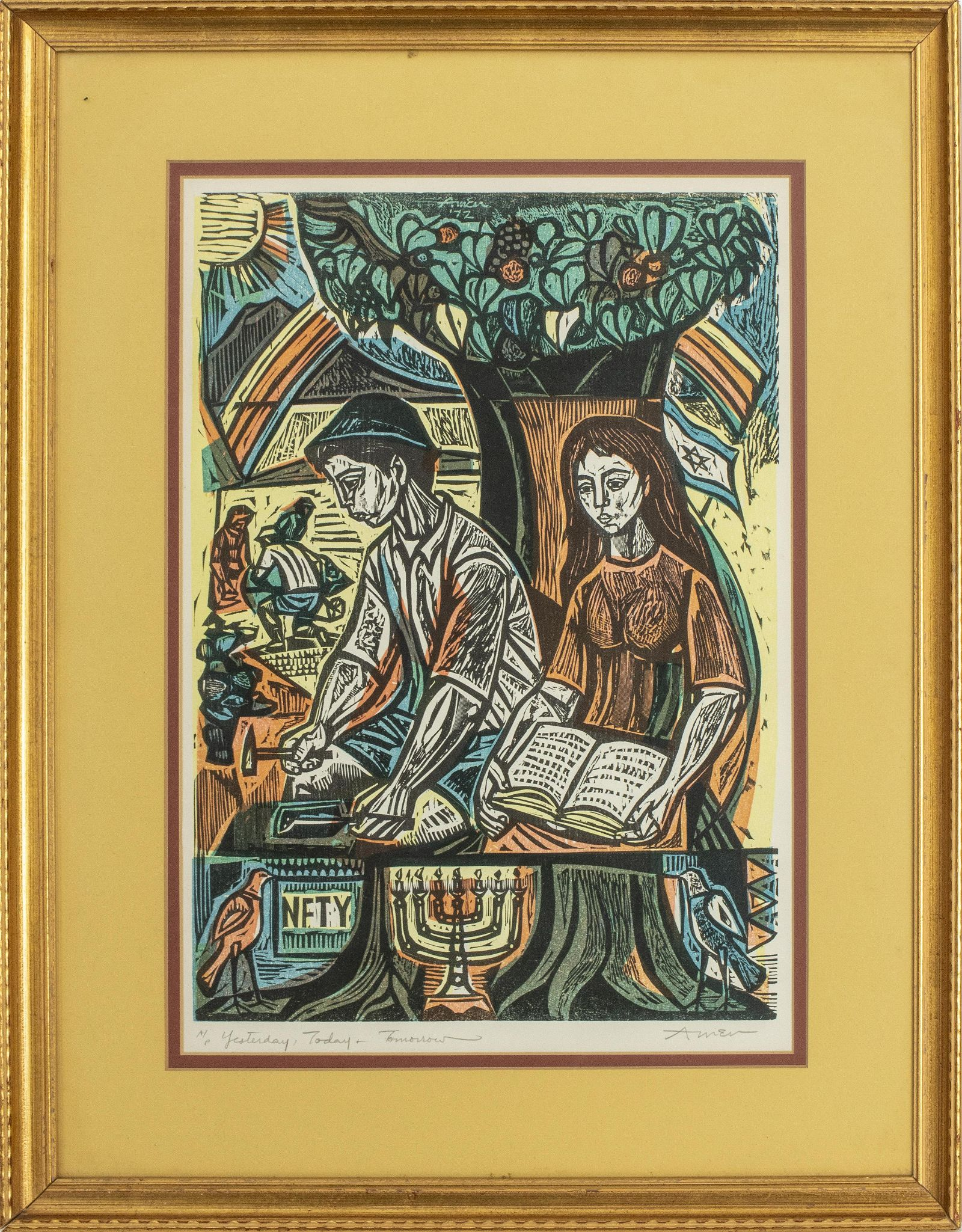 """Irving Amen """"Yesterday, Today, Tomorrow"""" Woodblock"""