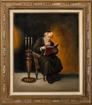 """Abraham Straski """"Portrait of a Rabbi"""" Oil"""