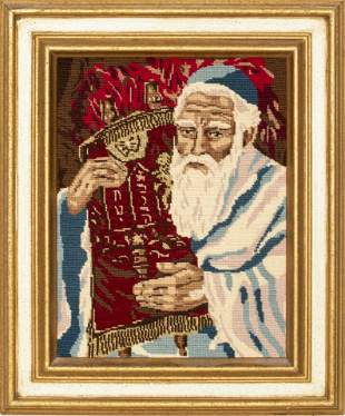 Judaica Needlepoint of a Rabbi with Torah