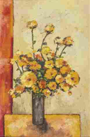 "Signed ""Saskia"" Oil on Canvas ""Yellow Flowers"""