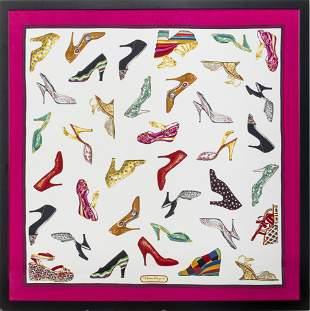 "Salvatore Ferragamo ""Shoes"" Framed Silk Scarf"