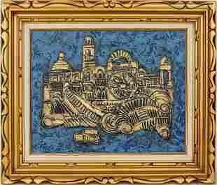 "Signed Gordon ""Cityscape"" Oil on Canvas"
