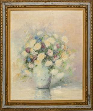 """Marie Linnell """"Floral Still Life"""" Oil on Canvas"""