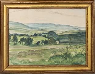"Signed Nordheim ""Landscape"" Watercolor, 1925"