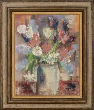"""Beverly Yunich """"Floral Still Life"""" Oil on Canvas"""