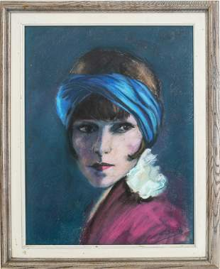 Illegibly Signed Portrait of Woman Pastel on Paper