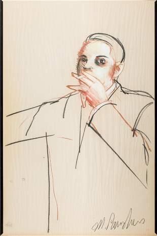 """Michael Paraskevas """"Man Smoking"""" Pastel on Paper"""