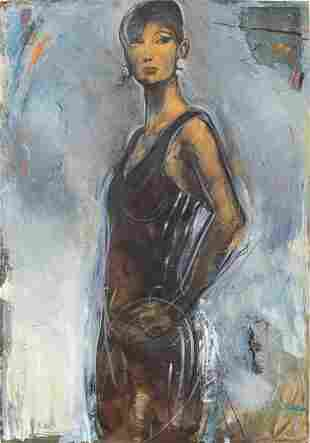 """Michael Paraskevas """"Portrait of a Woman"""" Oil"""