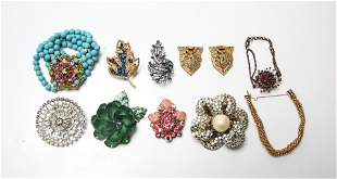 Costume Jewelry Brooches, Bracelets, Shoe Clips