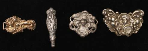 Art Nouveau Silver Buckle, Handle & 2 Brooches