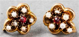 Antique 10K Yellow Gold Pearl & Red Stone Earrings