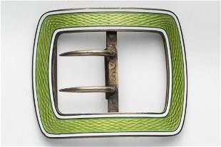 Silver & Guilloche Enamel Belt Buckle, Antique