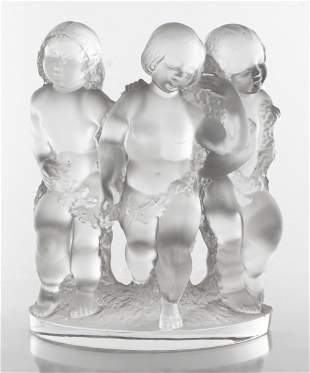 "Lalique ""Luxembourg"" Art Glass Cherub Sculpture"