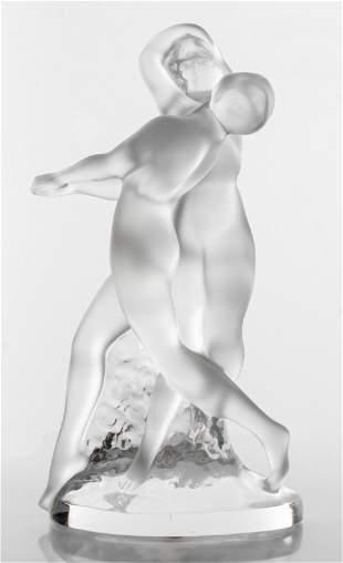 """Lalique """"Deux Danseuses"""" Art Glass Sculpture"""