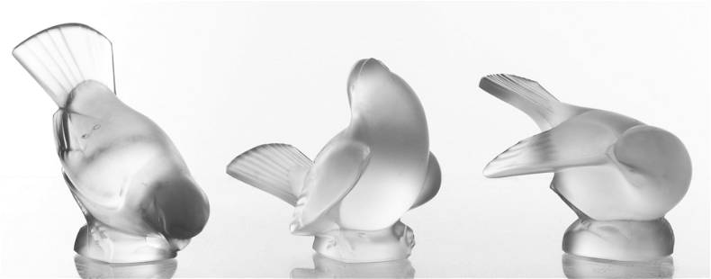 "Lalique ""Moineaux"" Frosted Art Glass Birds, 3"