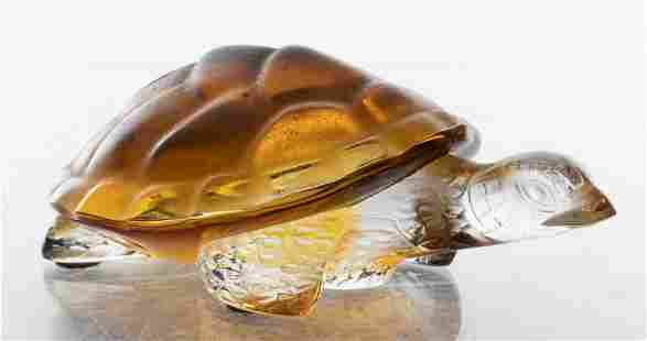 """Lalique Frosted Amber Glass """"Turtle"""" Sculpture"""