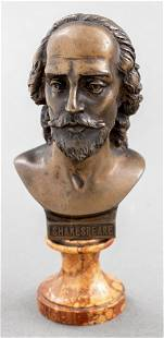 Bronze And Marble Bust of William Shakespeare