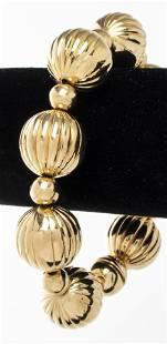 Italian 14K Yellow Gold Ribbed Ball Bracelet