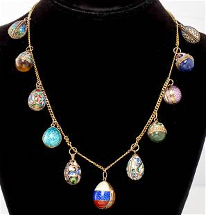 Russian Faberge Style Egg Charm Necklace
