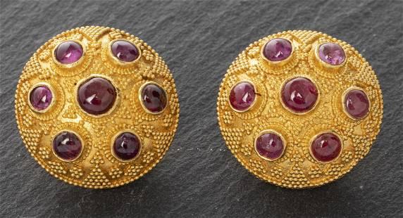 Etruscan Revival 22K Yellow Gold & Ruby Earrings