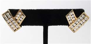 "14K Yellow Gold ""V"" Shaped Diamond Post Earrings"